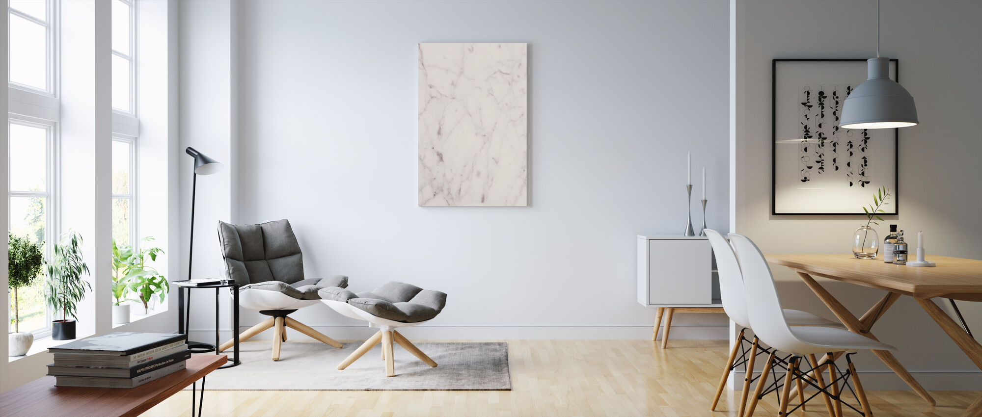 Creamy White Marble - Canvas print - Living Room