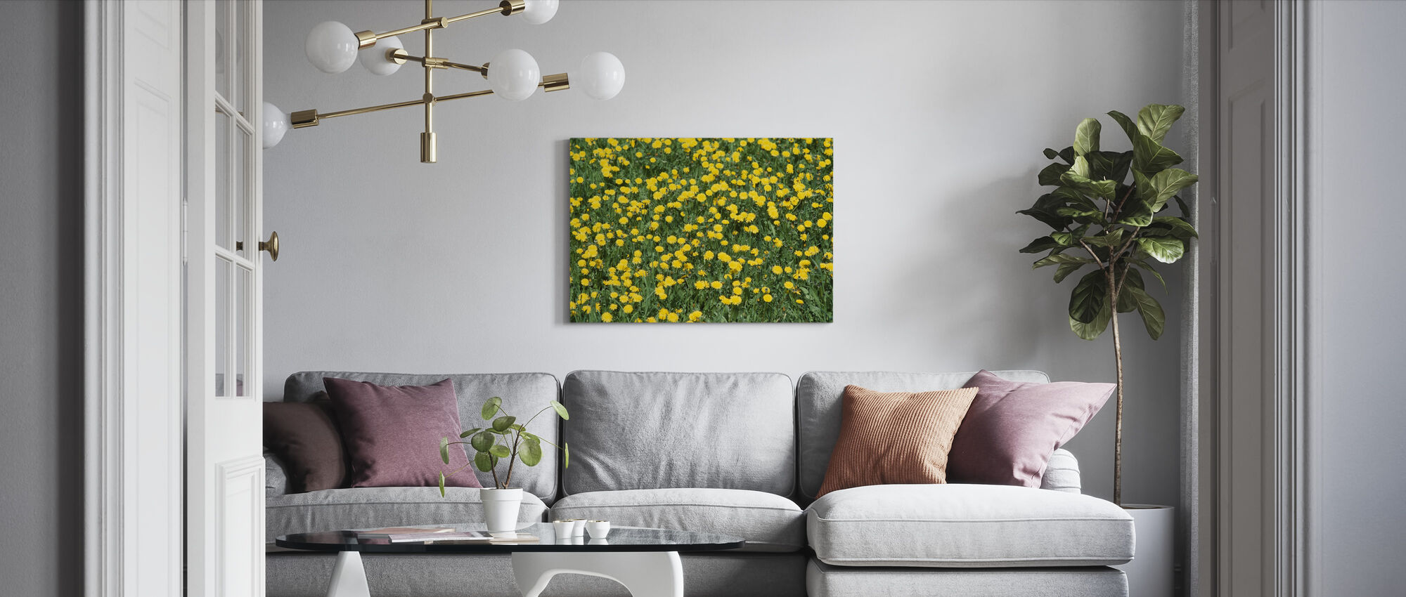 Dandelion and Grass - Canvas print - Living Room