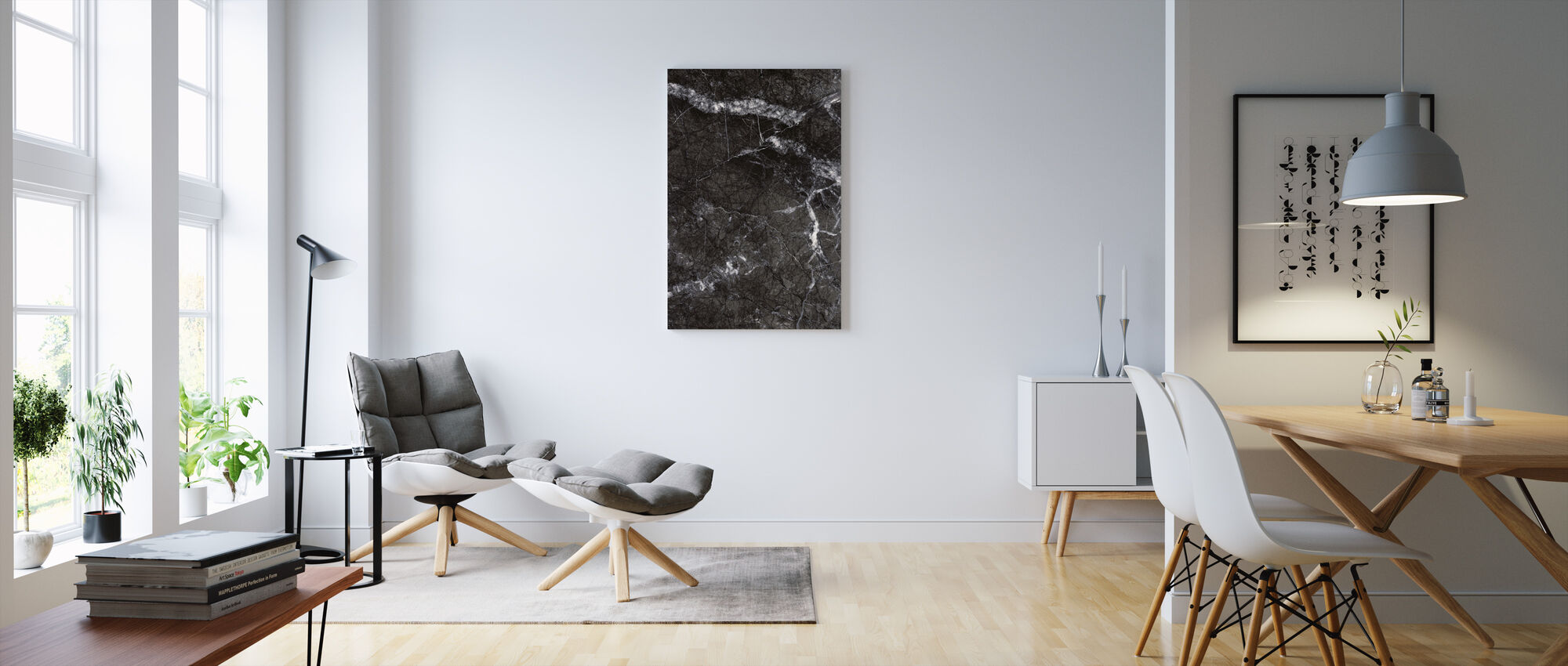 Gray Marble Close Up - Canvas print - Living Room
