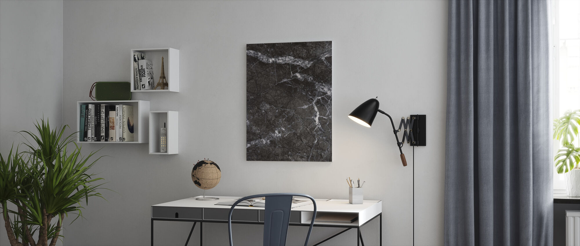 Gray Marble Close Up - Canvas print - Office