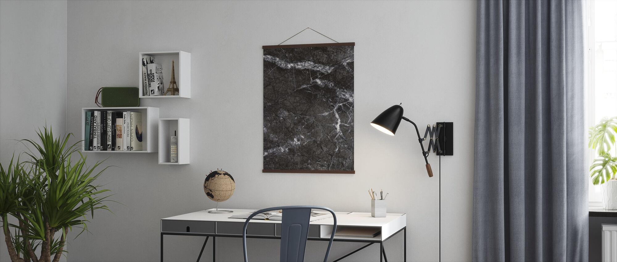 Grijs marmer Close Up - Poster - Kantoor