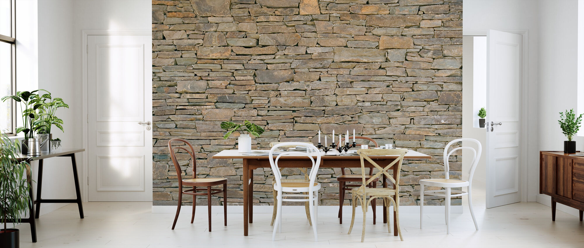 Stacked Stone Wall - Wallpaper - Kitchen