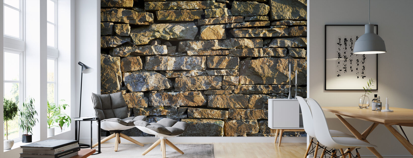 Hand Made Stone Wall - Wallpaper - Living Room