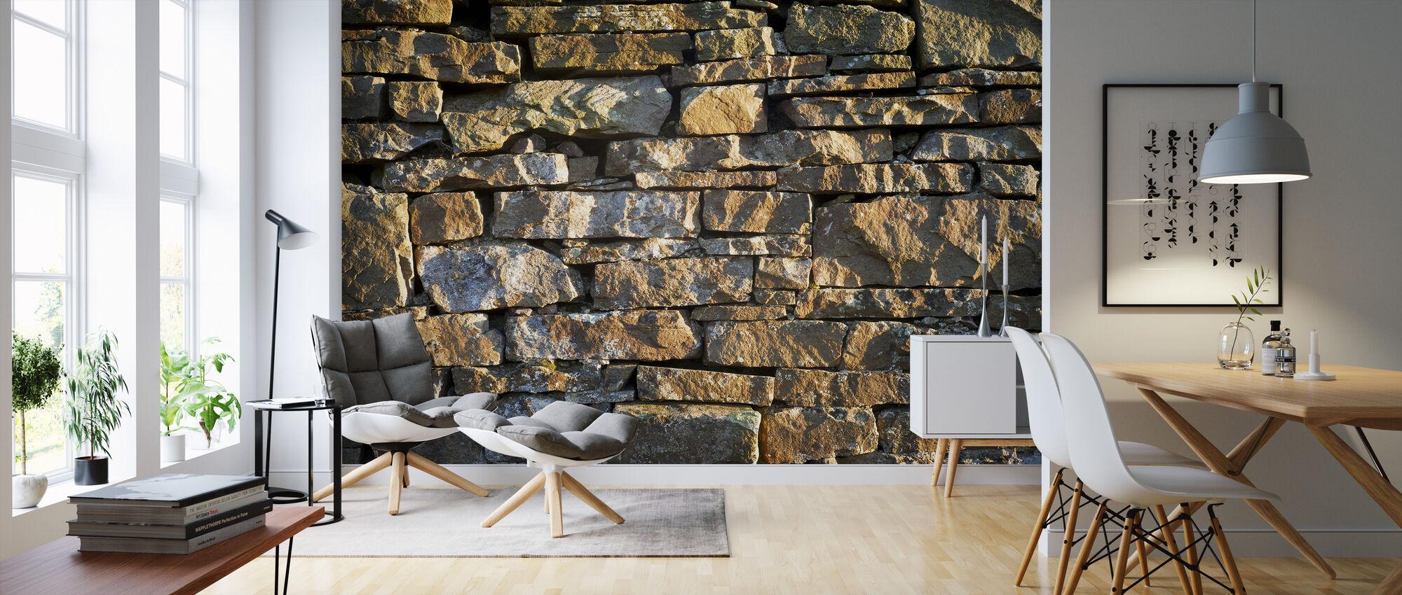 Handgemaakte stenen muur - Behang - Woonkamer
