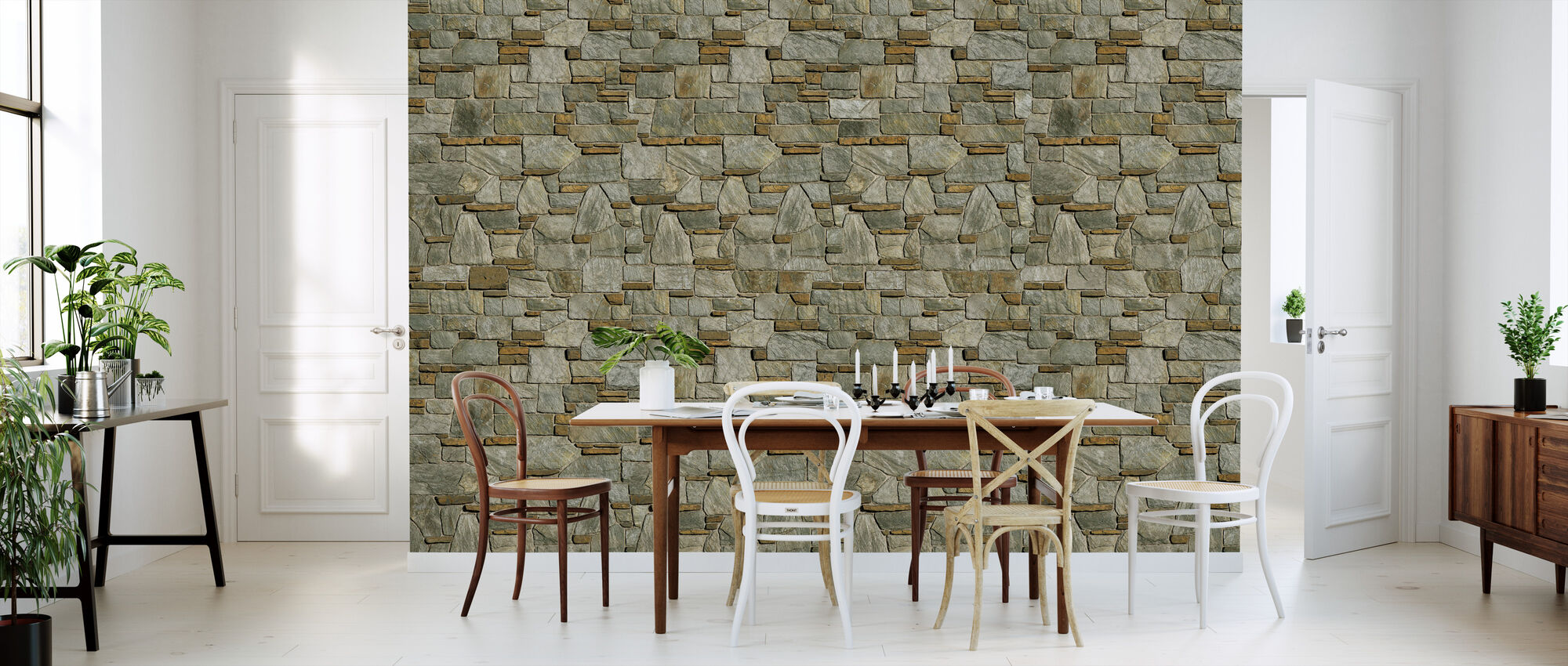Decorative Stone Wall - Wallpaper - Kitchen