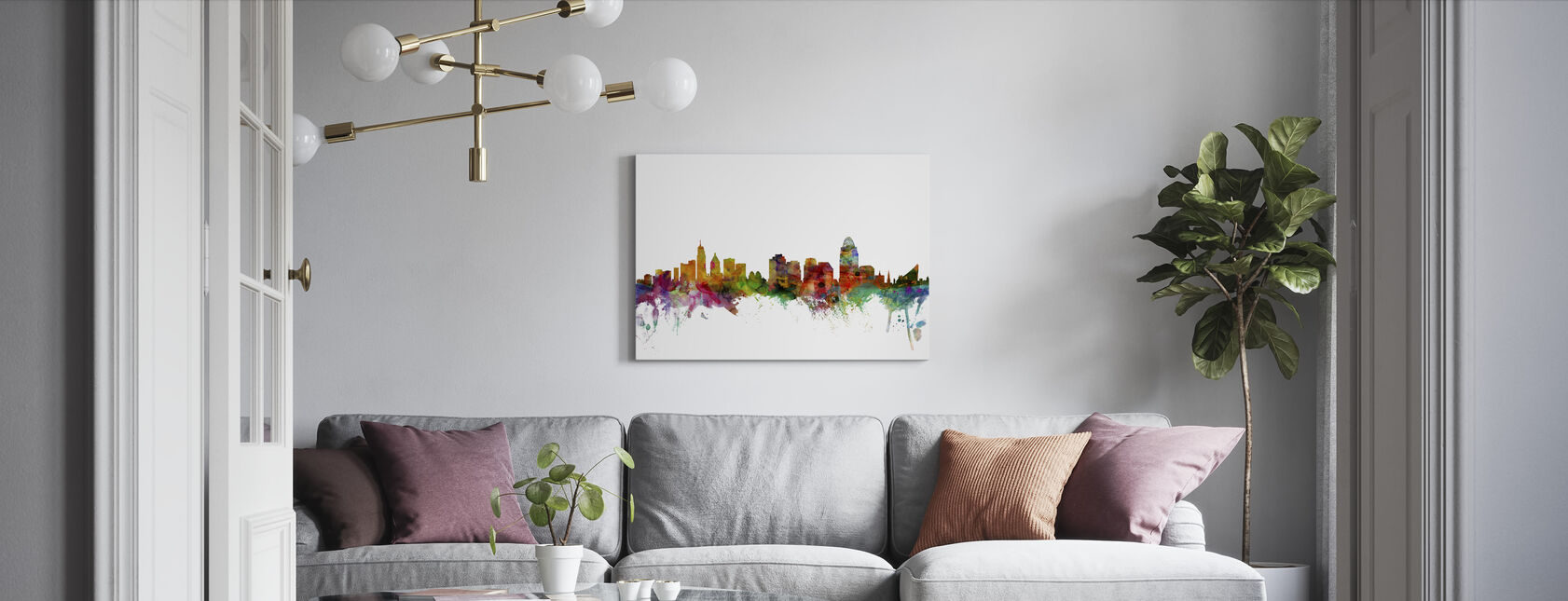 Cincinnati Ohio Skyline - Canvas print - Living Room