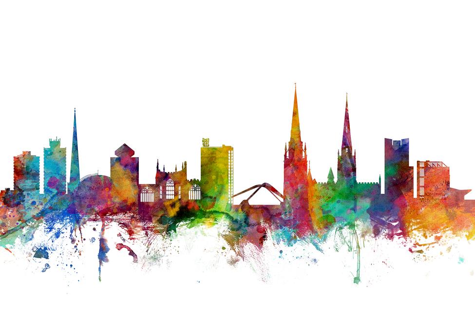 coventry england skyline - wall mural  u0026 photo wallpaper