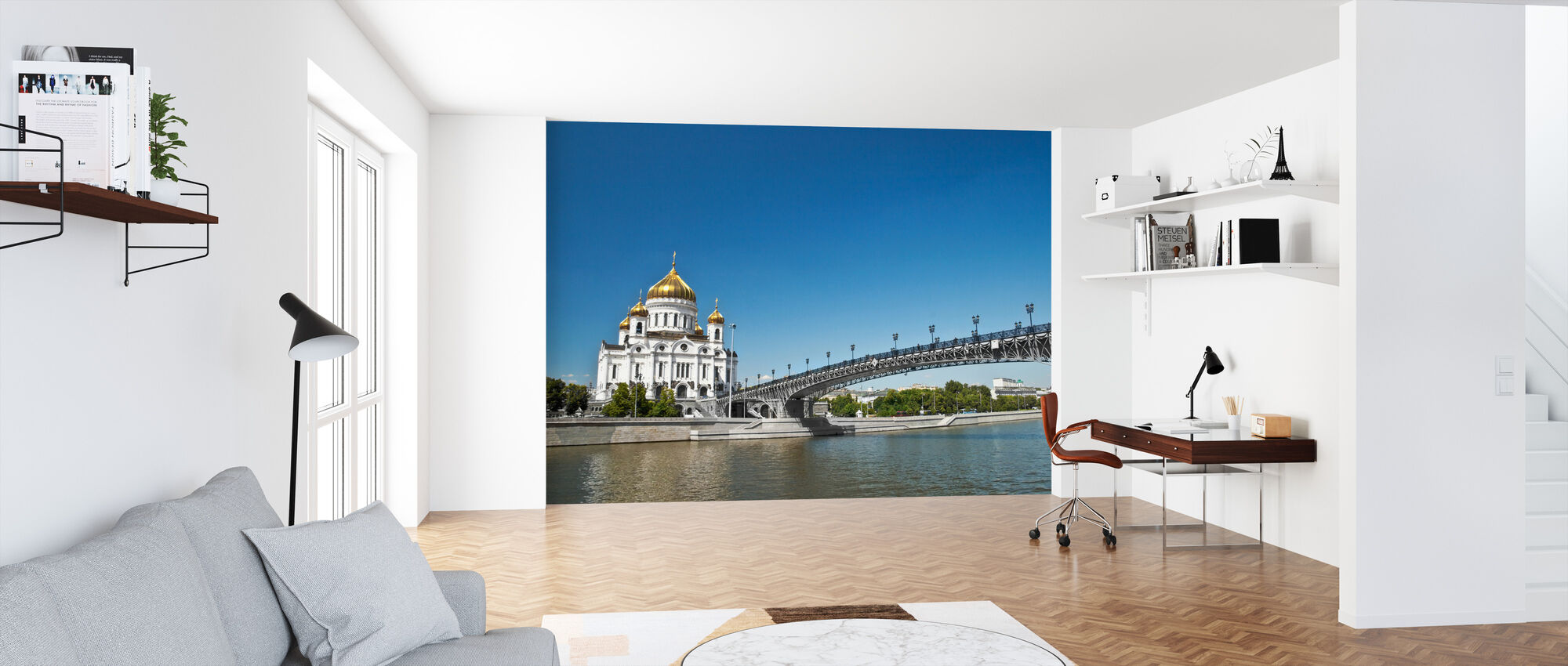 Cathedral on Moscow River Bank - Wallpaper - Office