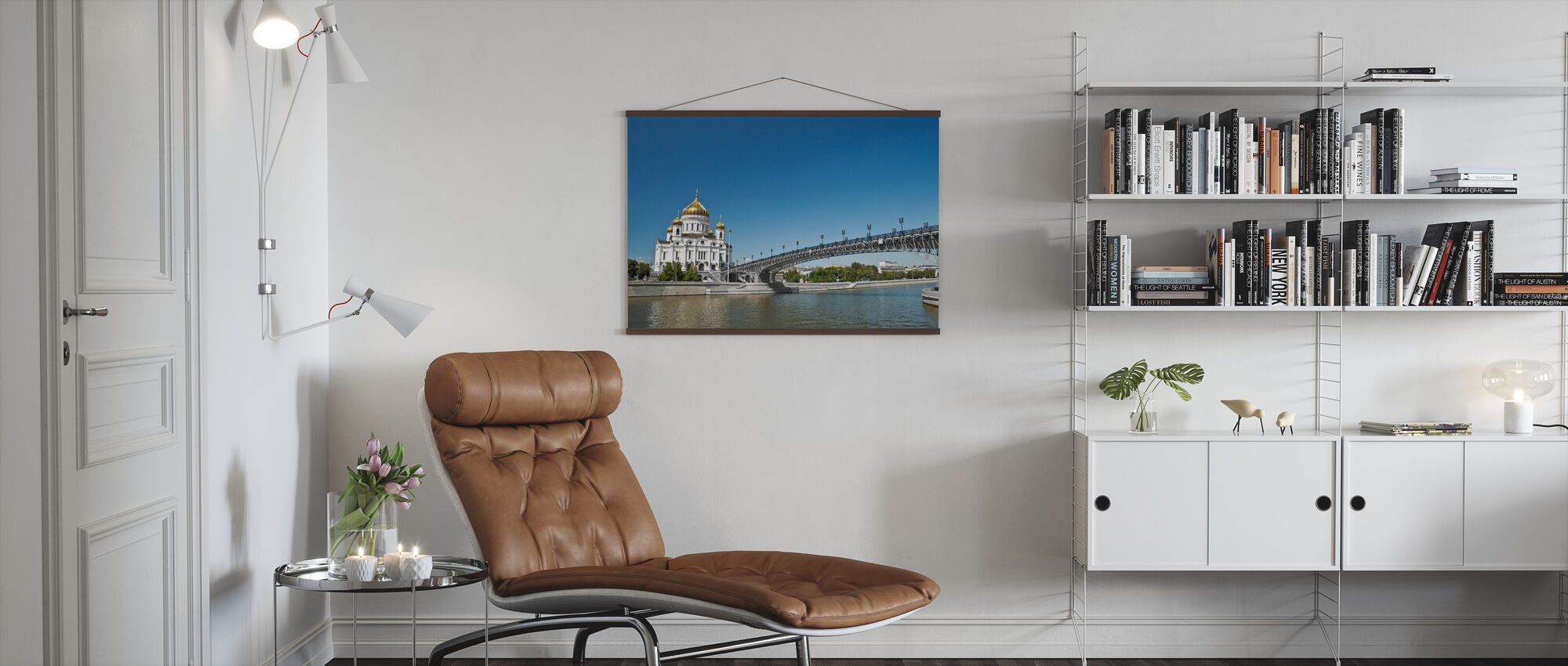 Cathedral on Moscow River Bank - Poster - Living Room