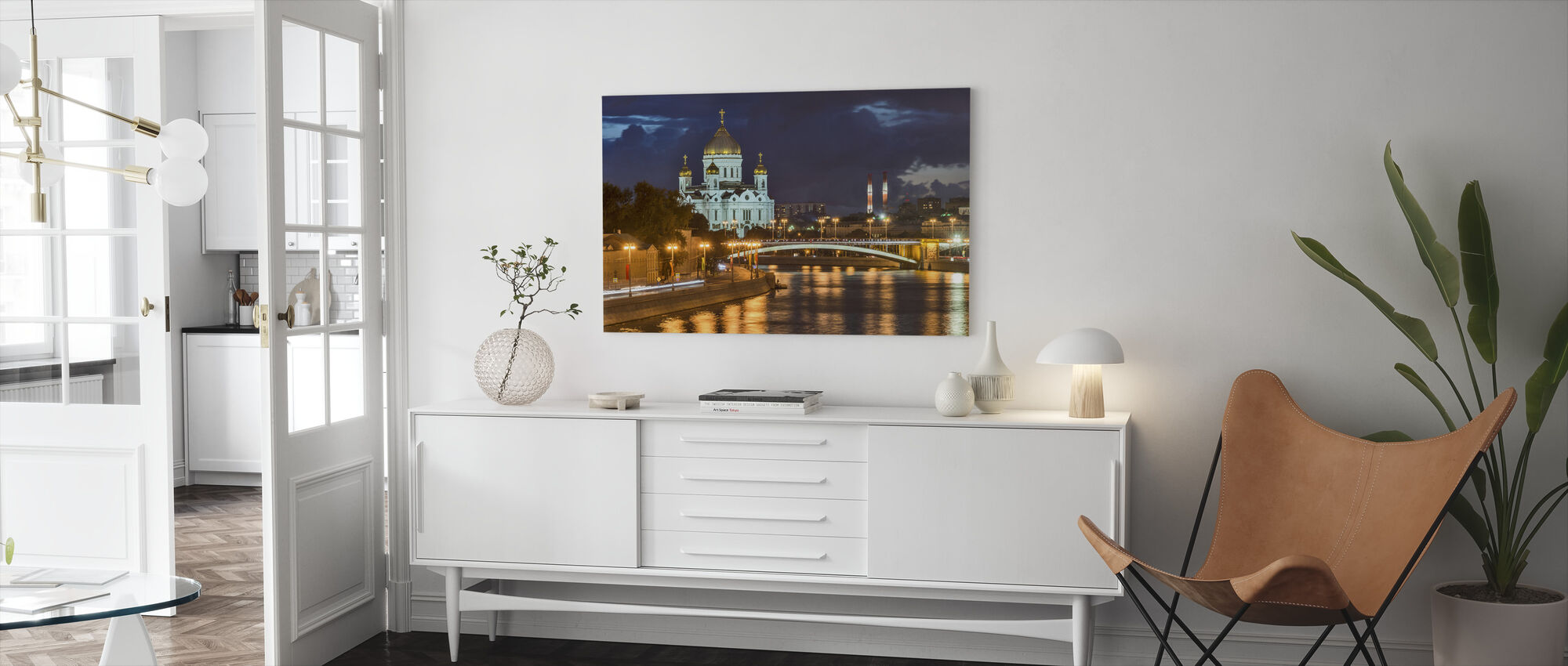 Illuminated Cathedral of Christ the Saviour - Canvas print - Living Room