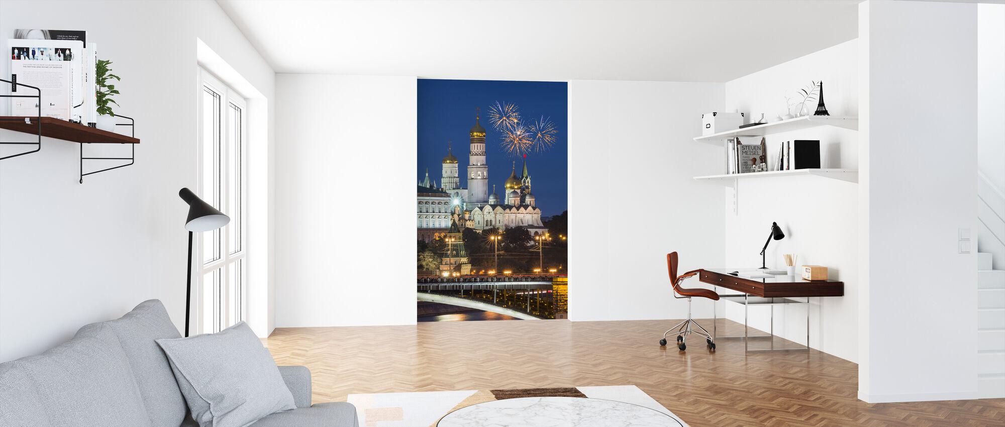 Vuurwerk boven het Kremlin - Behang - Kantoor