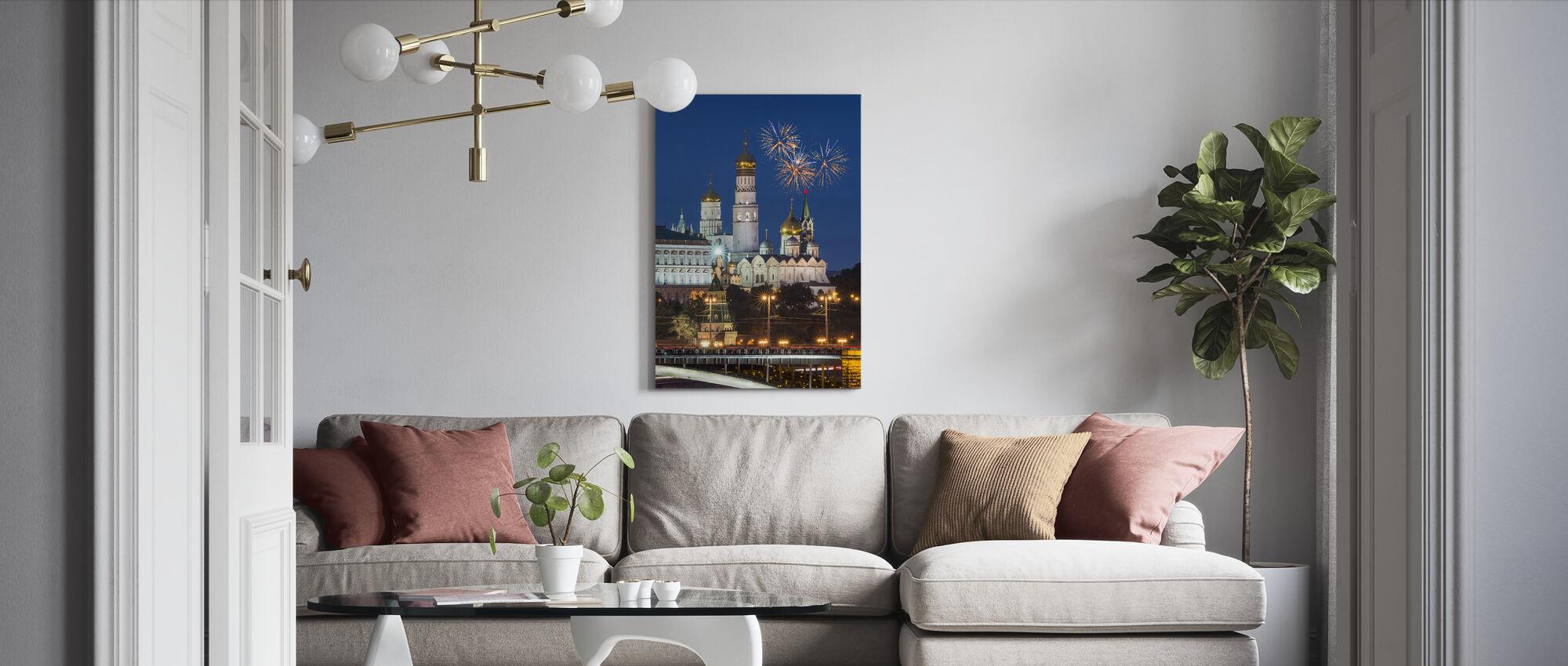 Fireworks over Kremlin - Canvas print - Living Room