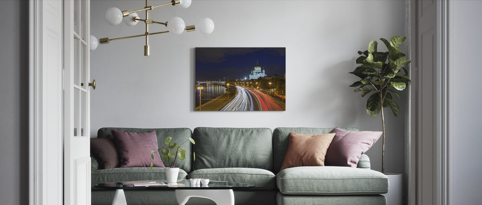 Moscow Traffic at Night - Canvas print - Living Room