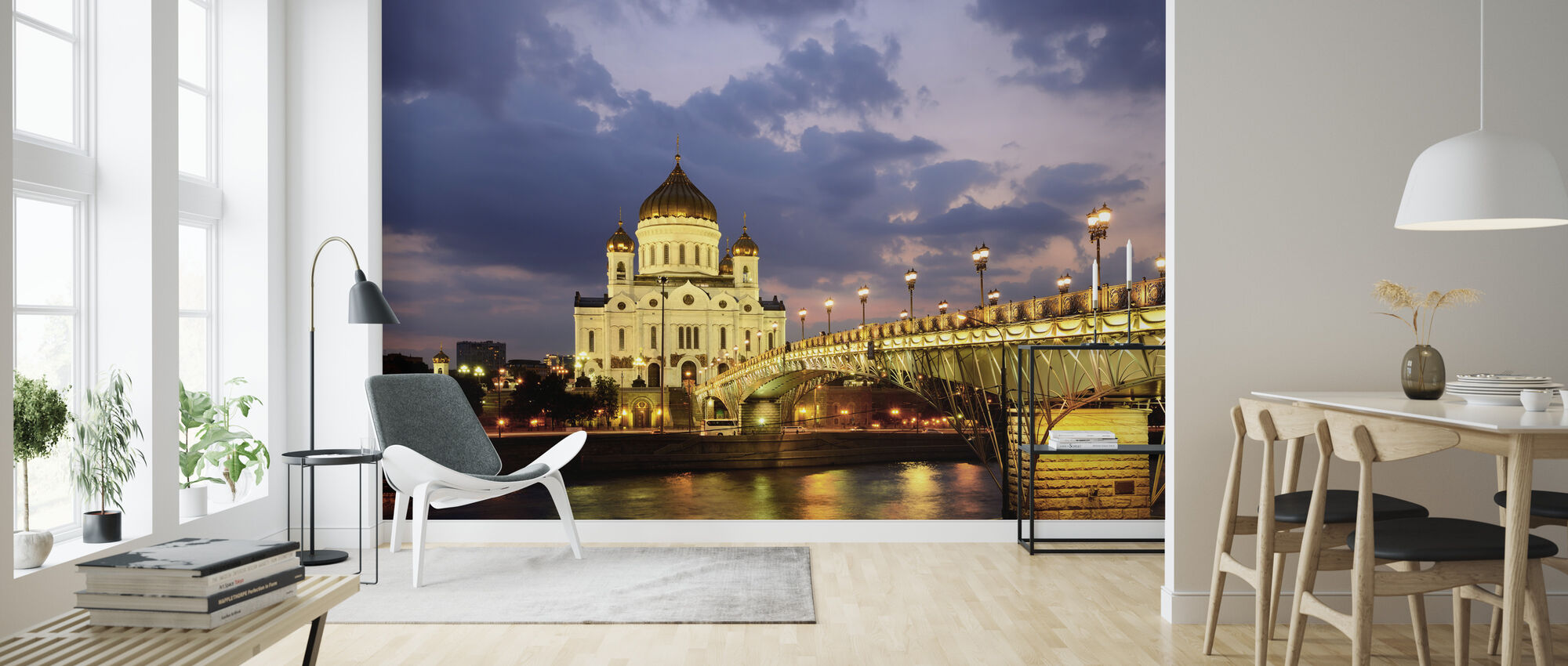 Moscow River at Night - Wallpaper - Living Room
