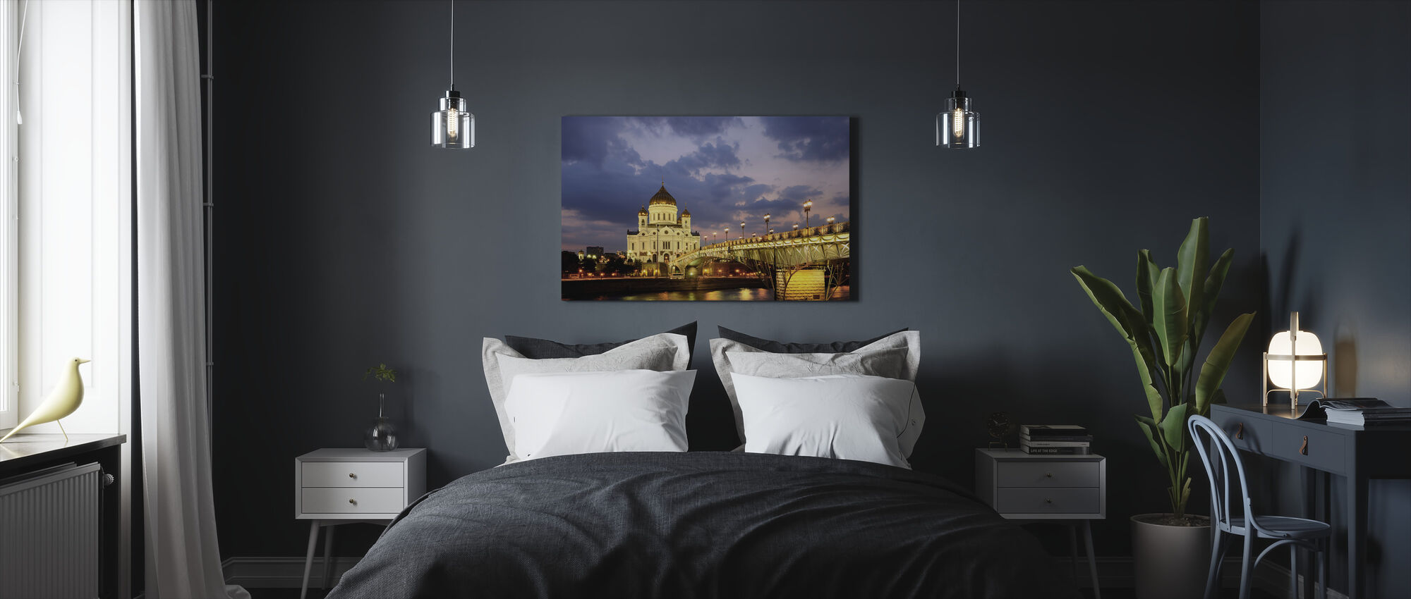 Moscow River at Night - Canvas print - Bedroom