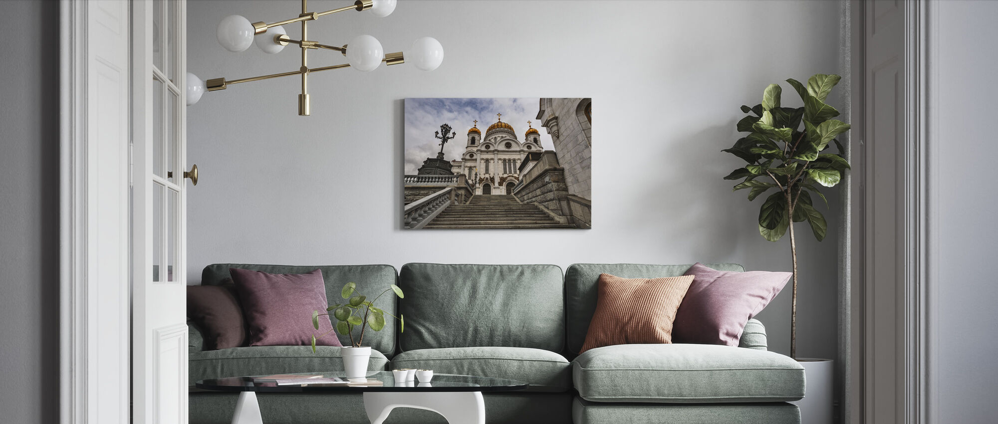 In front of the Cathedral of Christ the Saviour - Canvas print - Living Room
