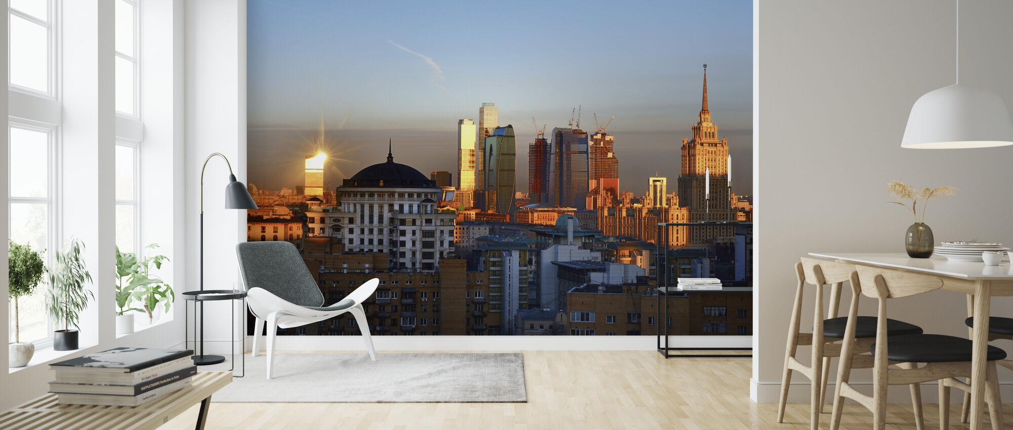 Moscow Skyline at Sunrise - Wallpaper - Living Room