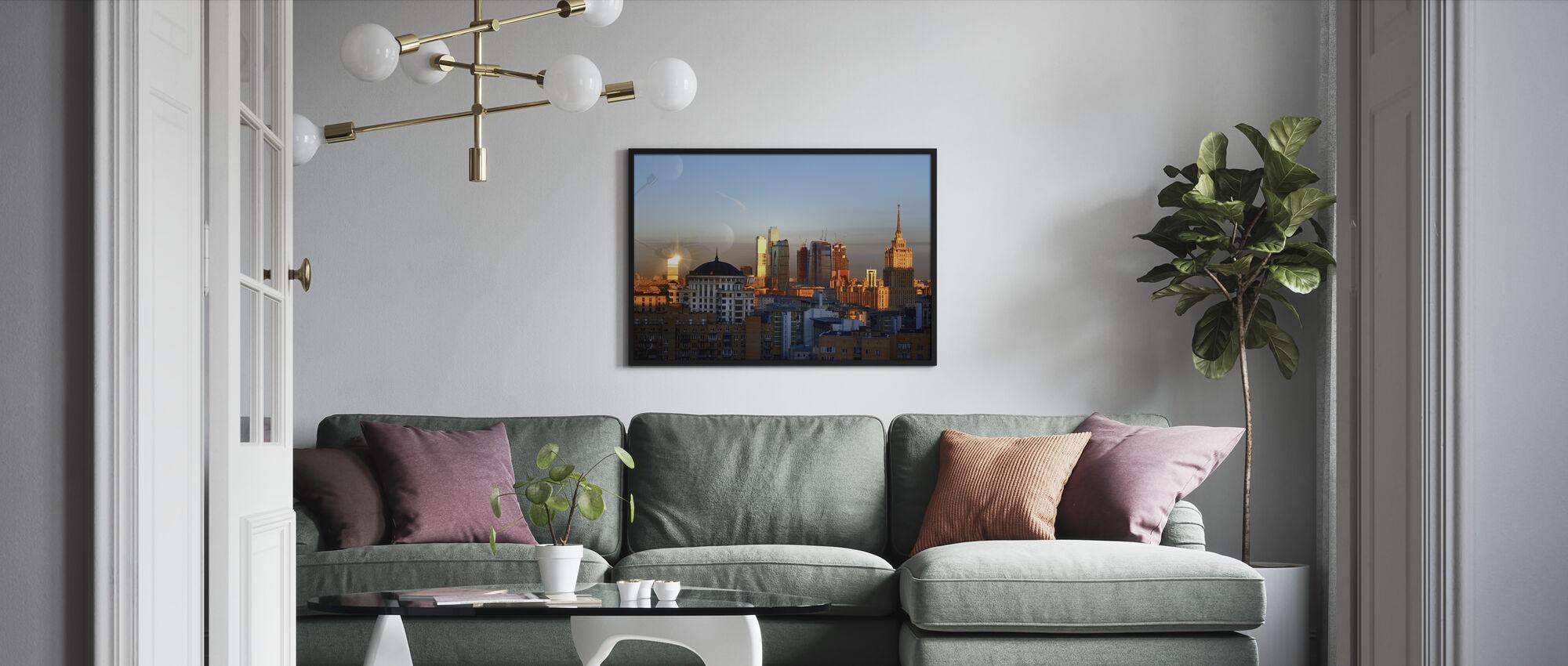 Moscow Skyline at Sunrise - Framed print - Living Room