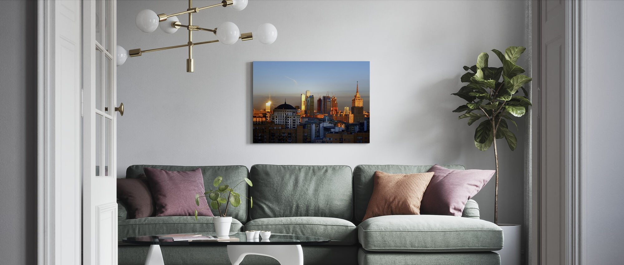 Moscow Skyline at Sunrise - Canvas print - Living Room