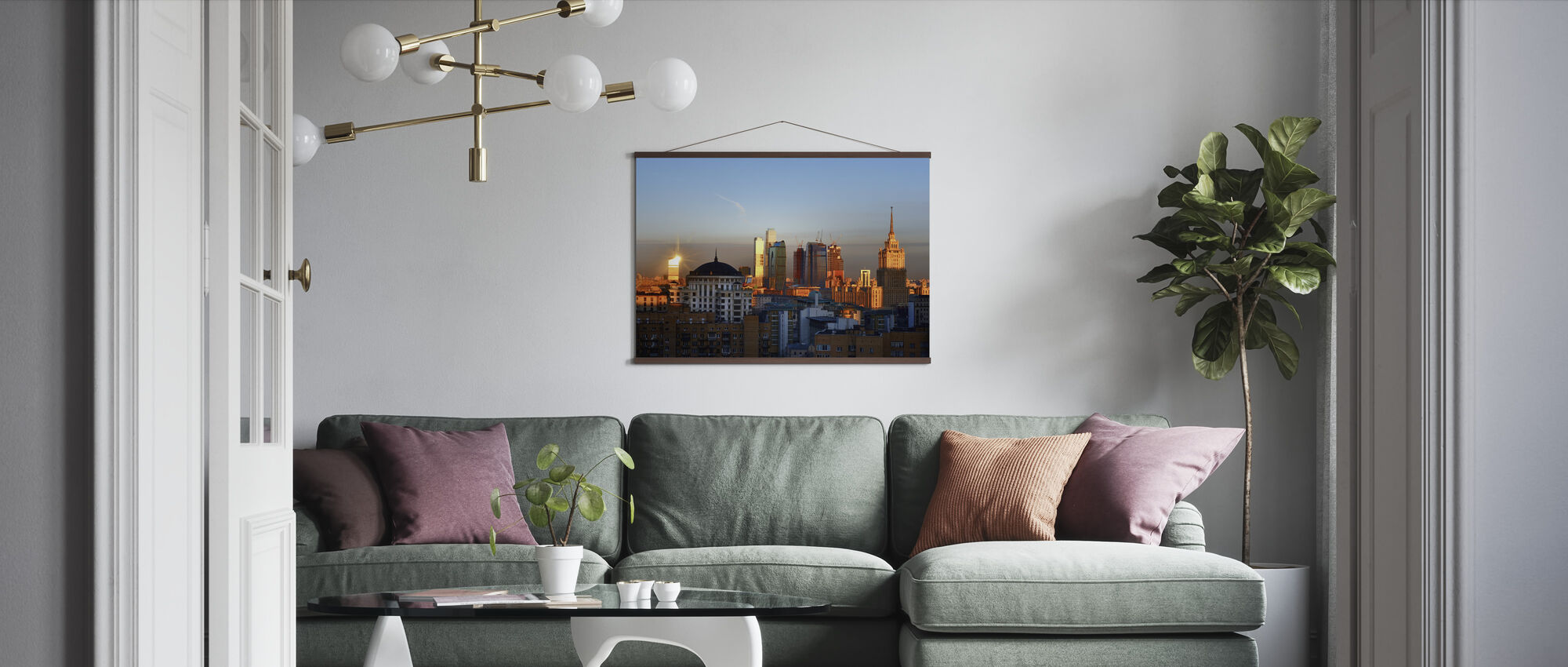Moscow Skyline at Sunrise - Poster - Living Room