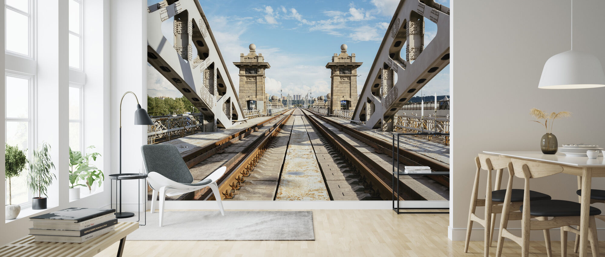 Railroad Bridge in Moscow - Wallpaper - Living Room