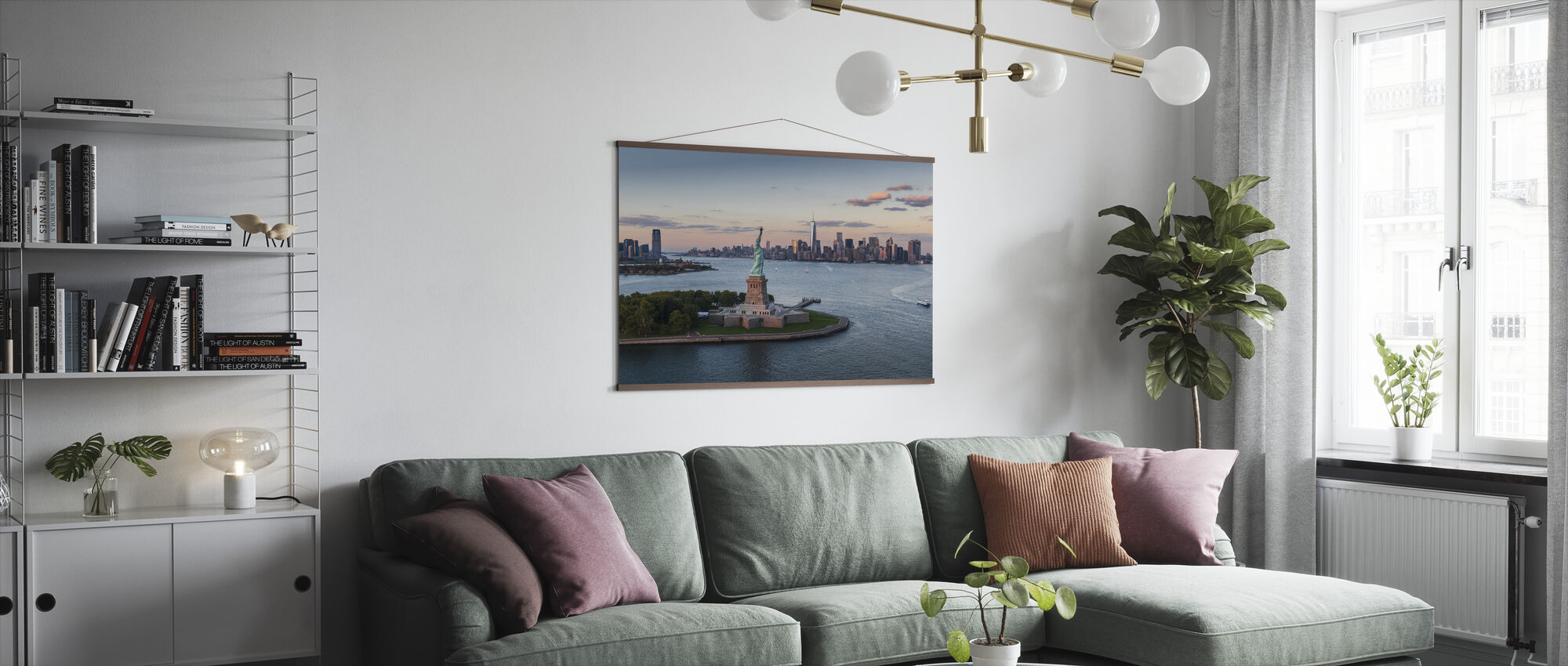 Aerial View of Statue of Liberty - Poster - Living Room