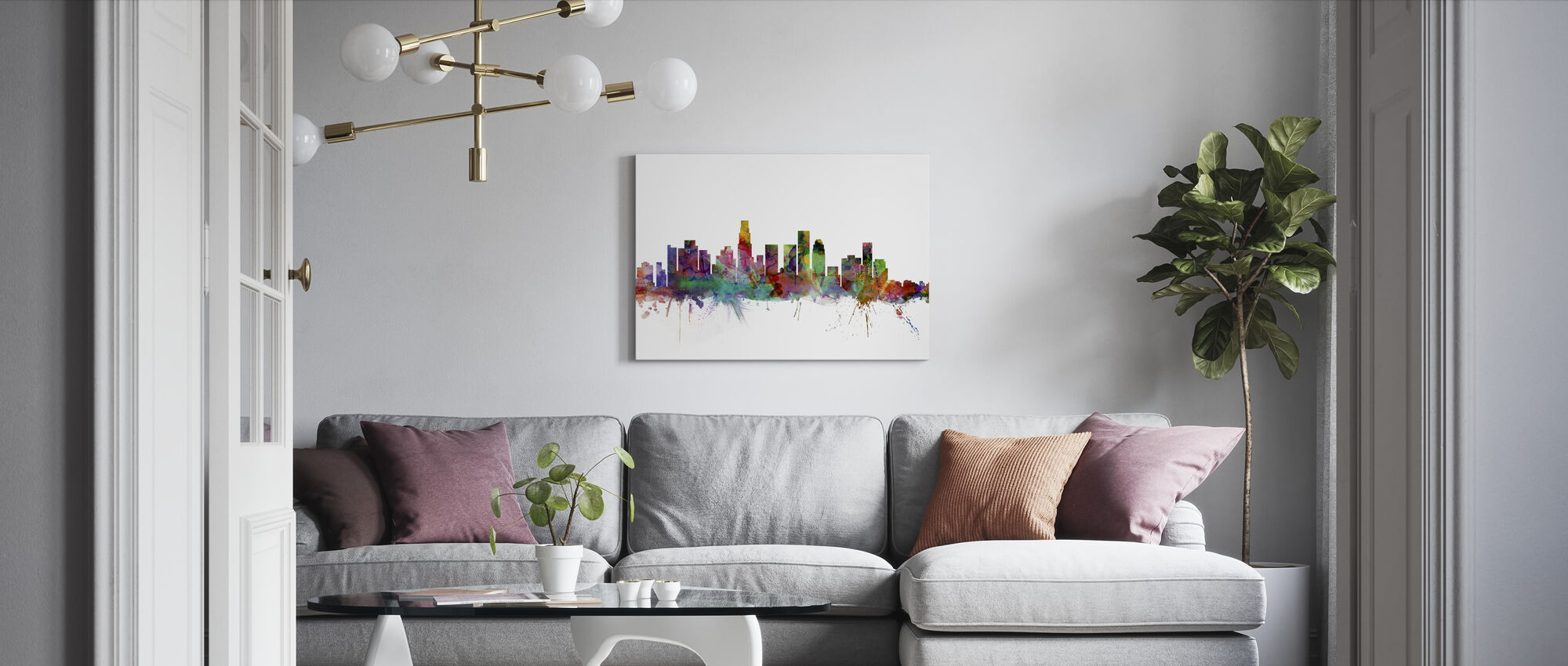 Los Angeles Skyline - Billede på lærred - Stue