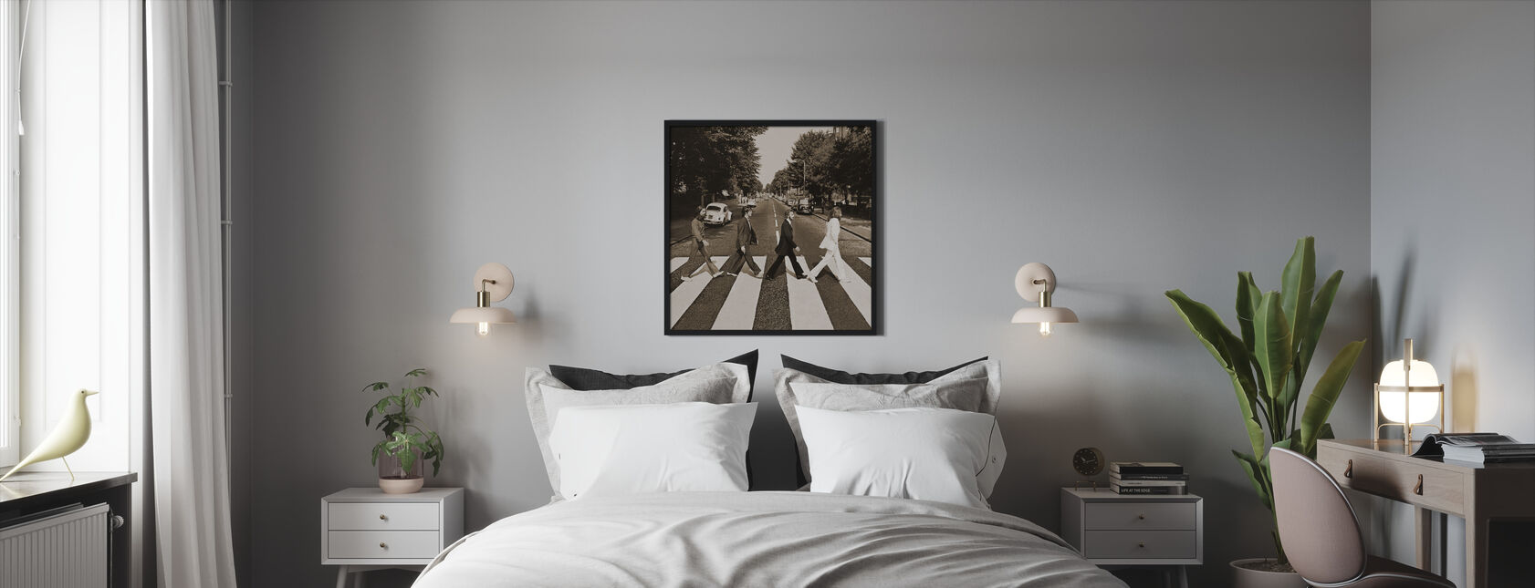 Beatles - Abbey Road Seepia - Kehystetty kuva - Makuuhuone