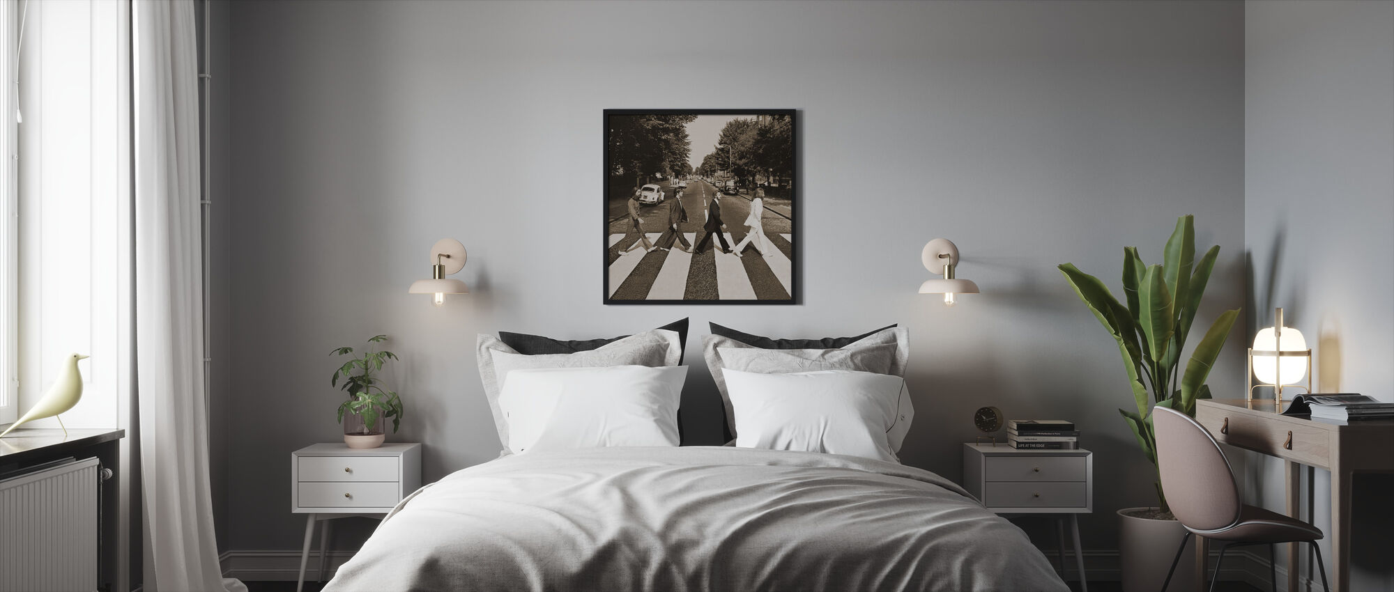 Beatles - Abbey Road Sepia - Innrammet bilde - Soverom