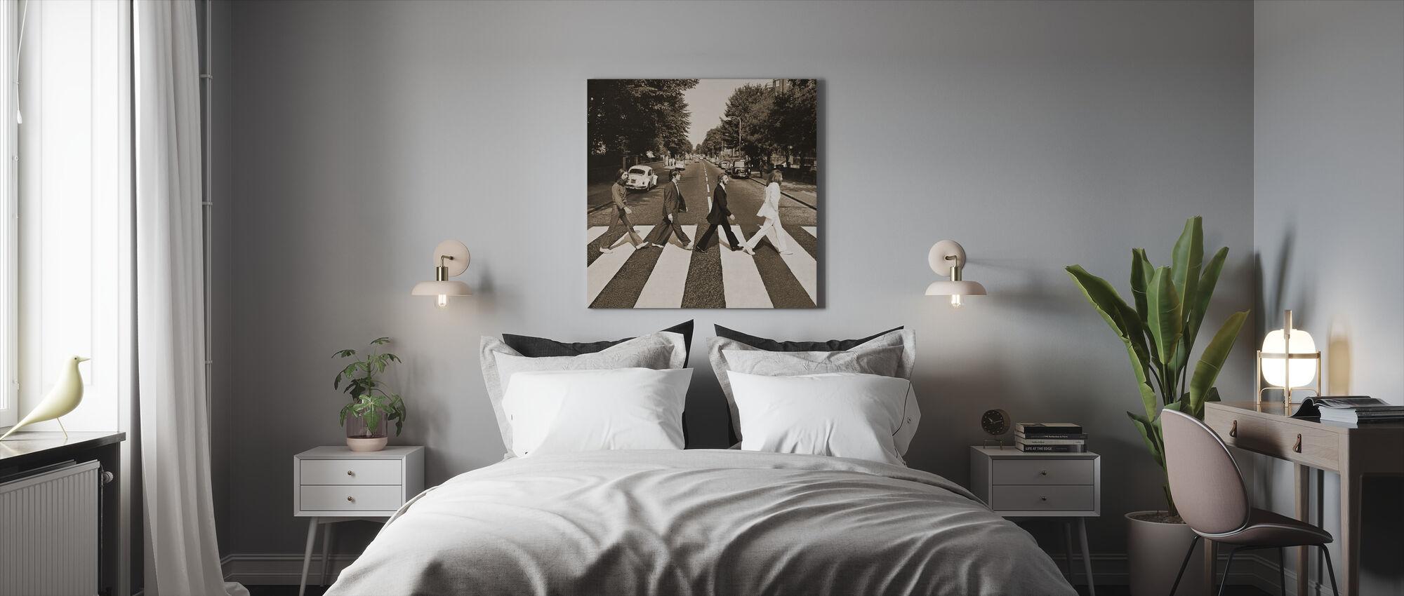 Beatles - Abbey Road Sepia - Lerretsbilde - Soverom