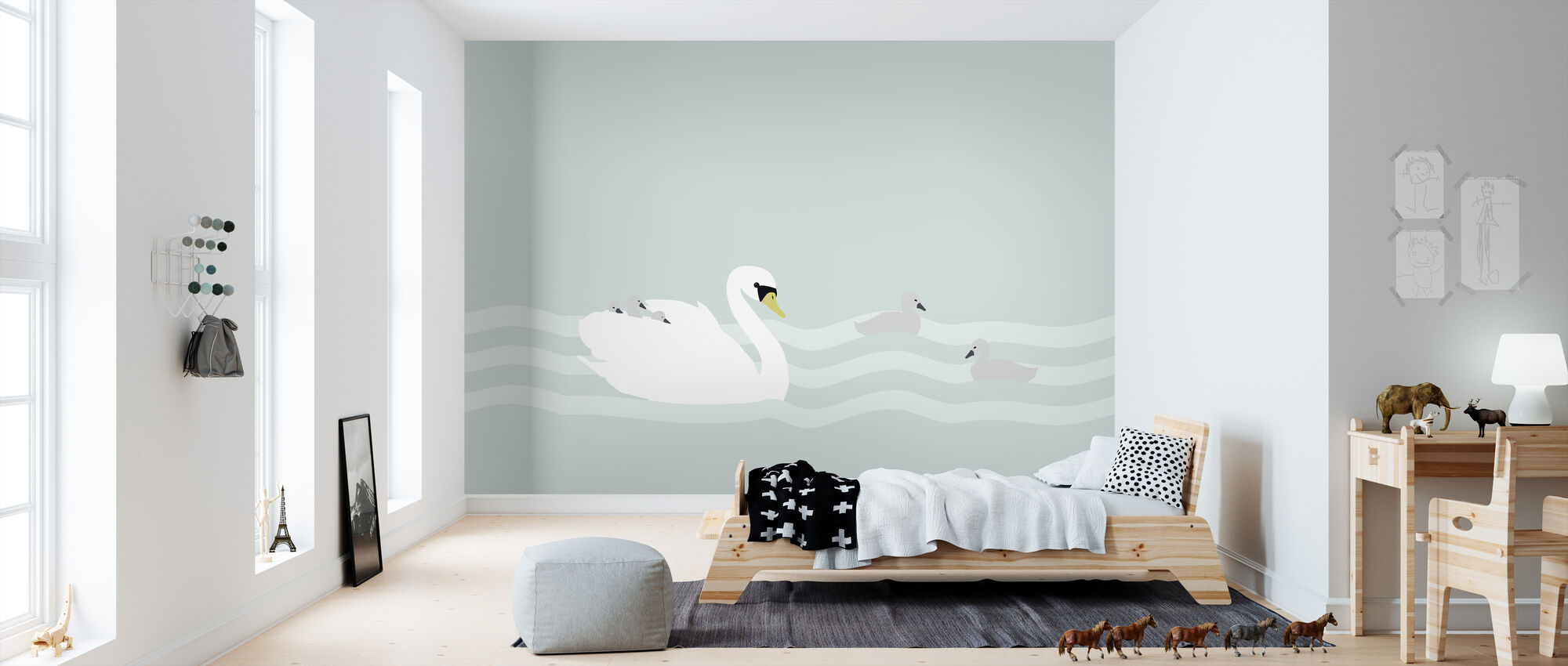 Swan mom and bebe - Jade - Wallpaper - Kids Room