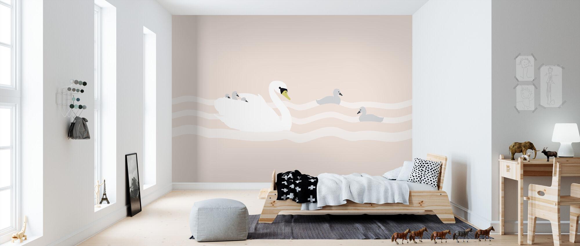 Swan mom and bebe - Rose - Wallpaper - Kids Room