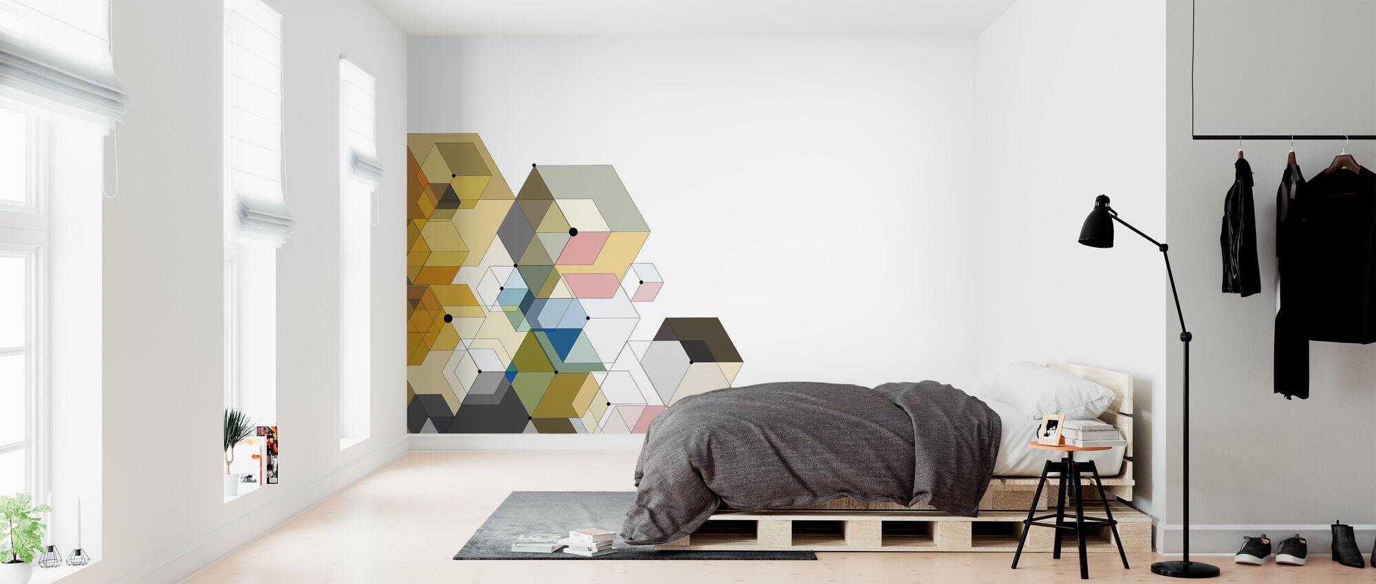 Abstrakt farge sekskanter - Tapet - Soverom
