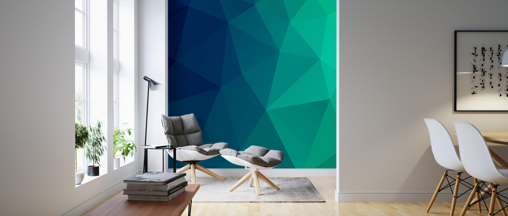 abstract triangles trendige fototapete photowall. Black Bedroom Furniture Sets. Home Design Ideas