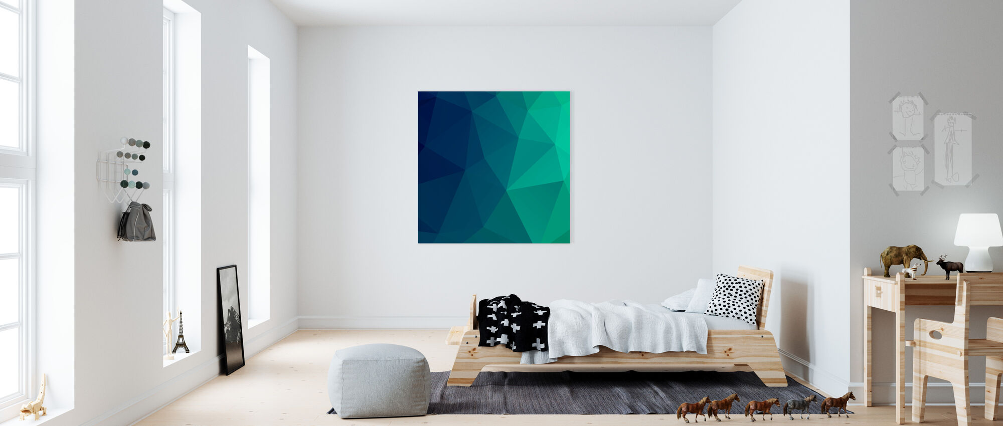 abstract triangles leinwandbild h chster qualit t photowall. Black Bedroom Furniture Sets. Home Design Ideas
