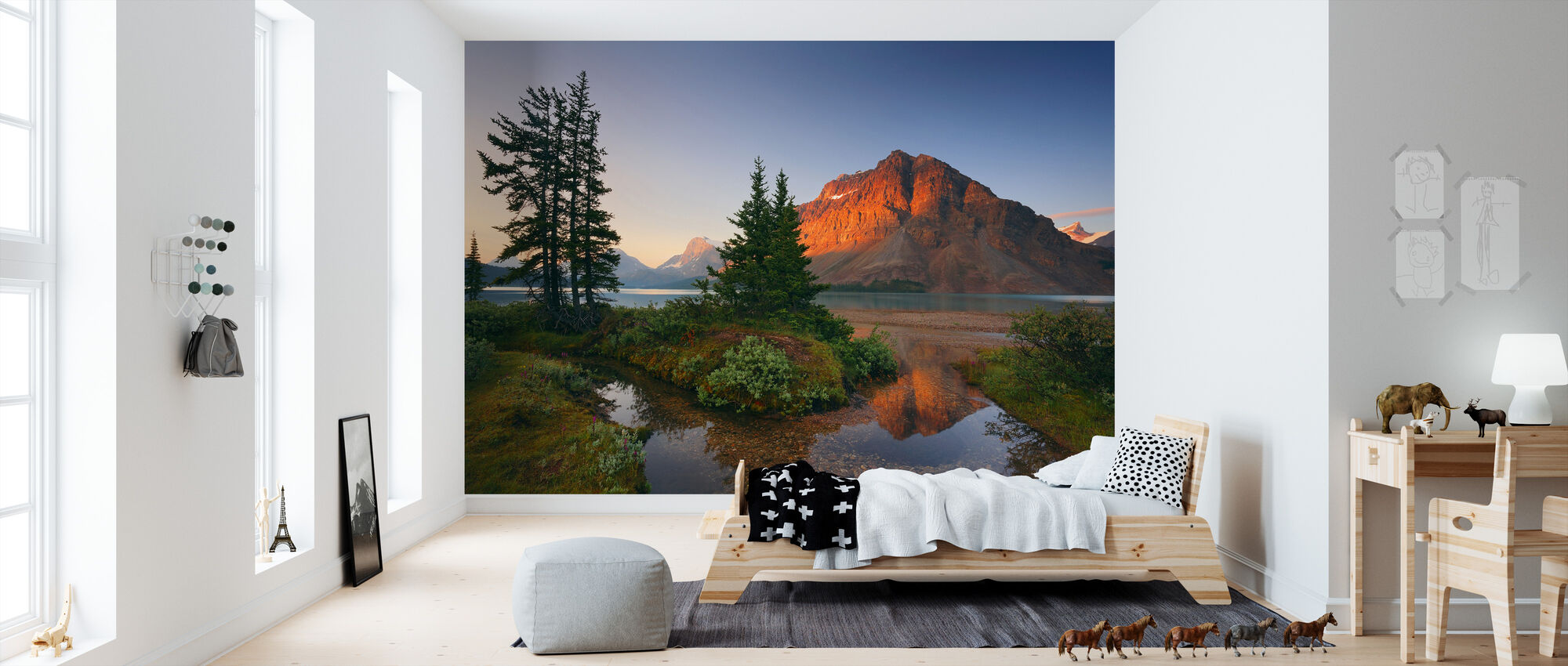 crowfoot mountain reflection fototapete nach ma photowall. Black Bedroom Furniture Sets. Home Design Ideas