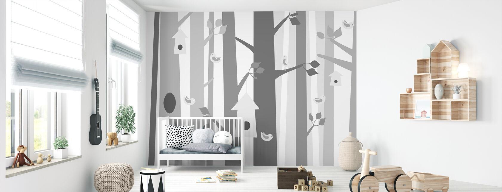 Bird Forest - Grey - Wallpaper - Nursery