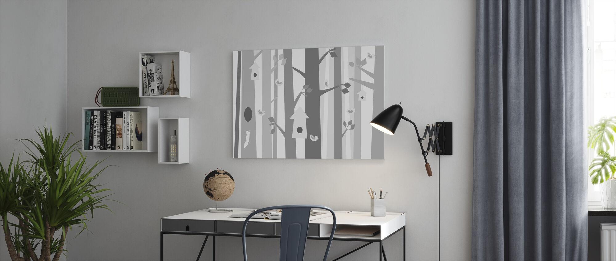 Vogelbos - Grijs - Canvas print - Kantoor