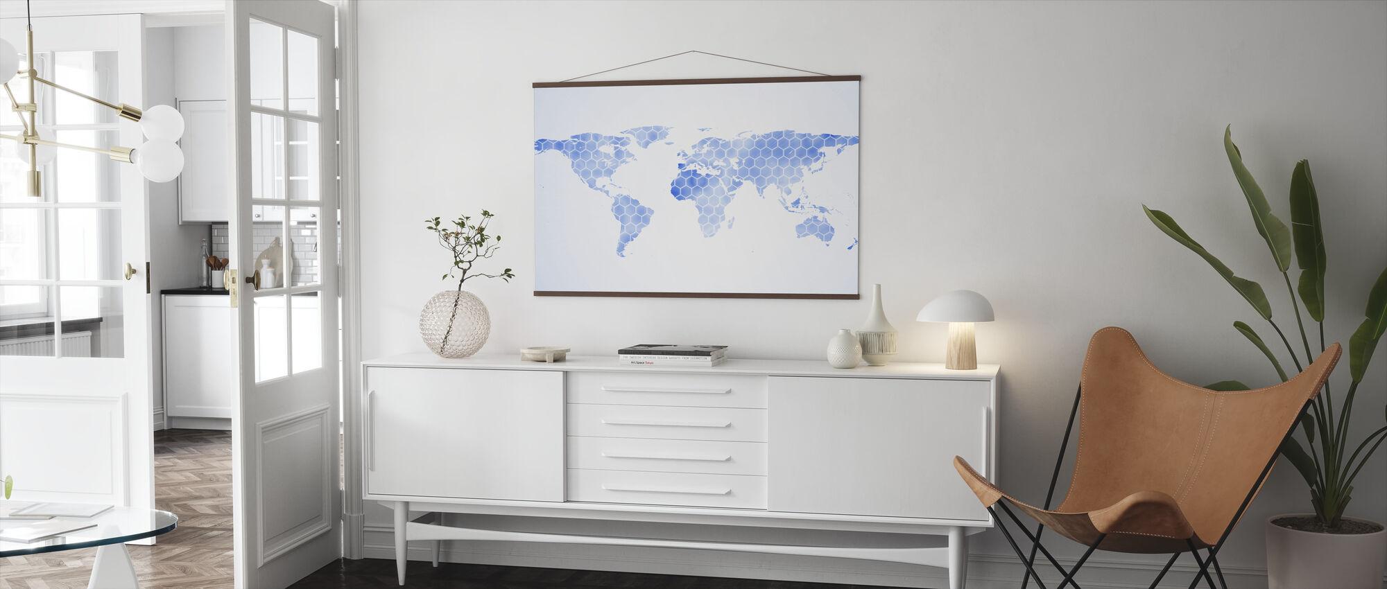 Blå Hexagon World Kort - Plakat - Stue