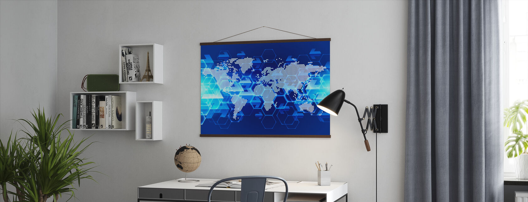 Blue Light World Map - Poster - Office