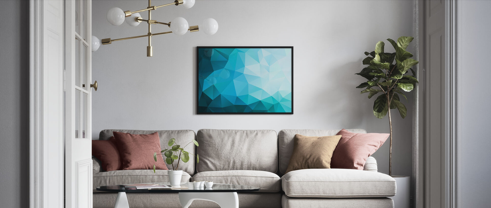 Blue Polygonal - Framed print - Living Room