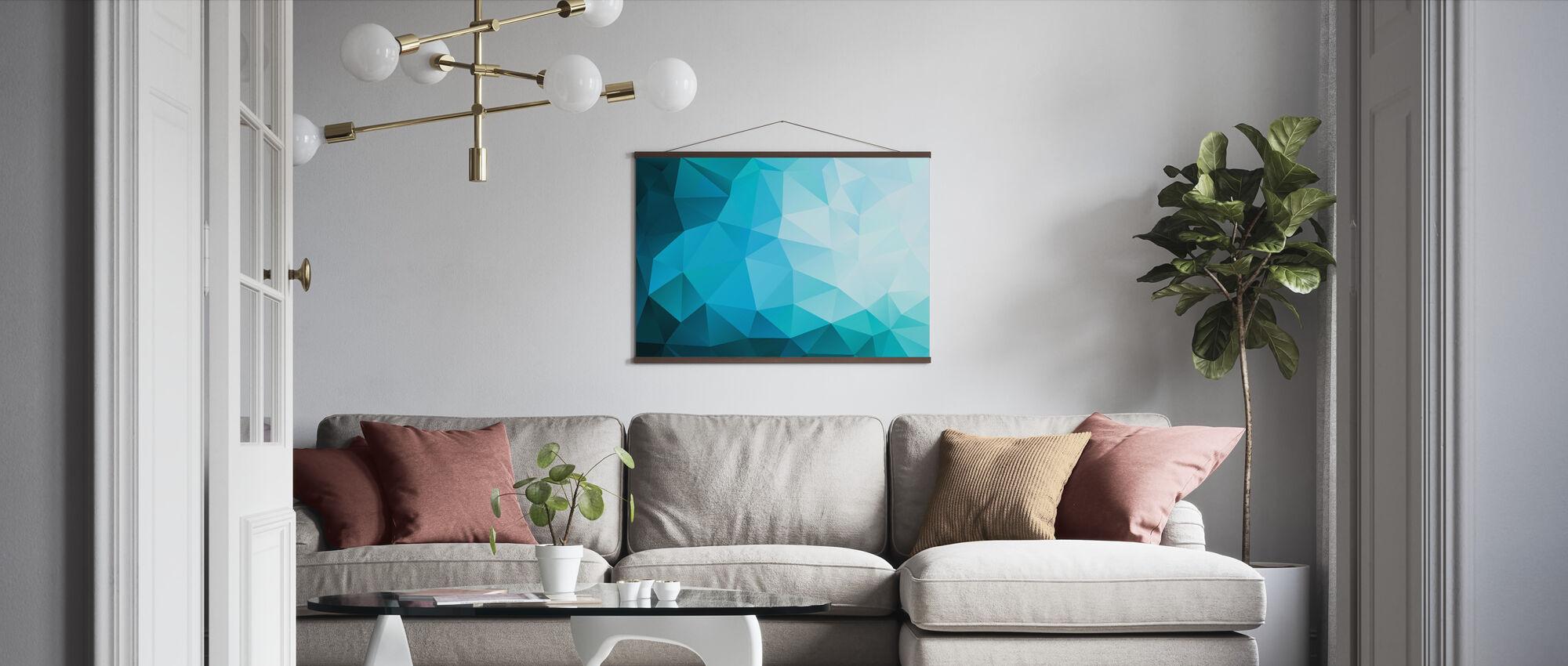 Blue Polygonal - Poster - Living Room