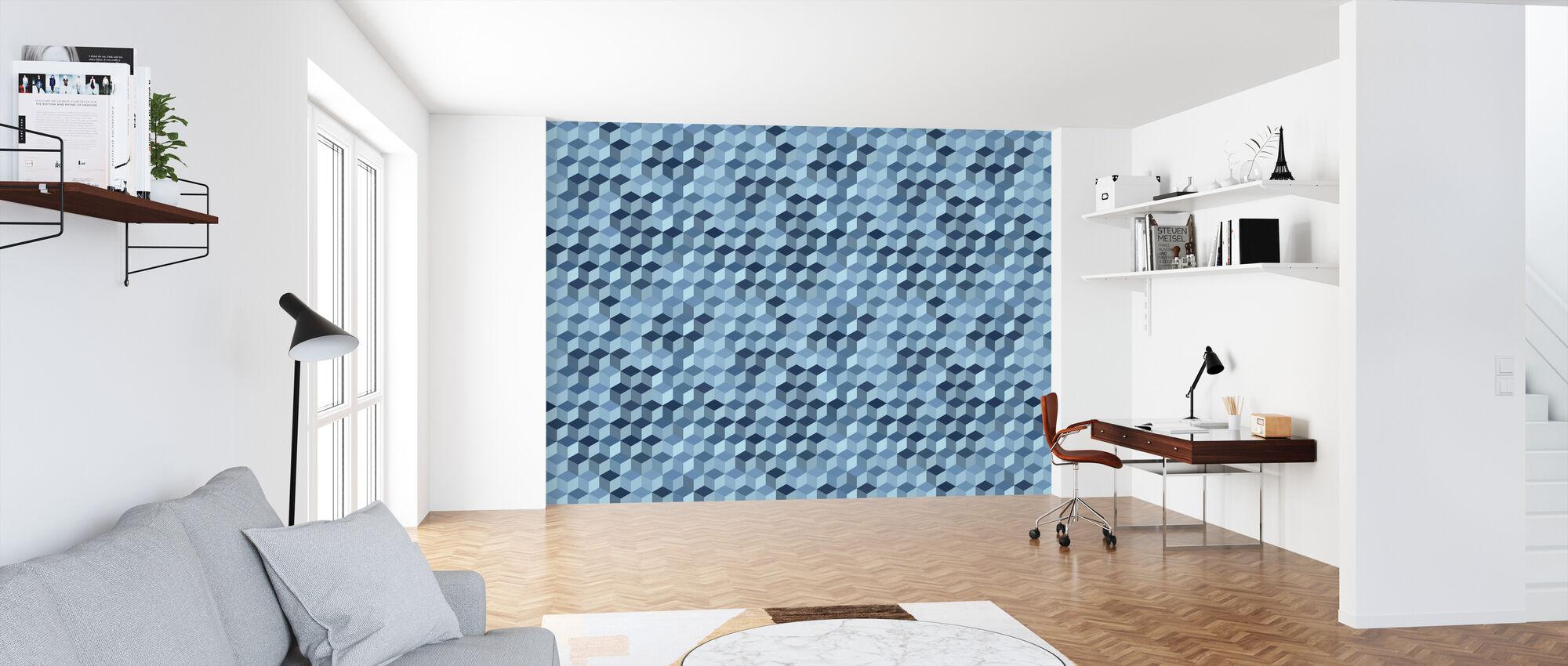 Cube Hexagon Pattern - Steel - Wallpaper - Office