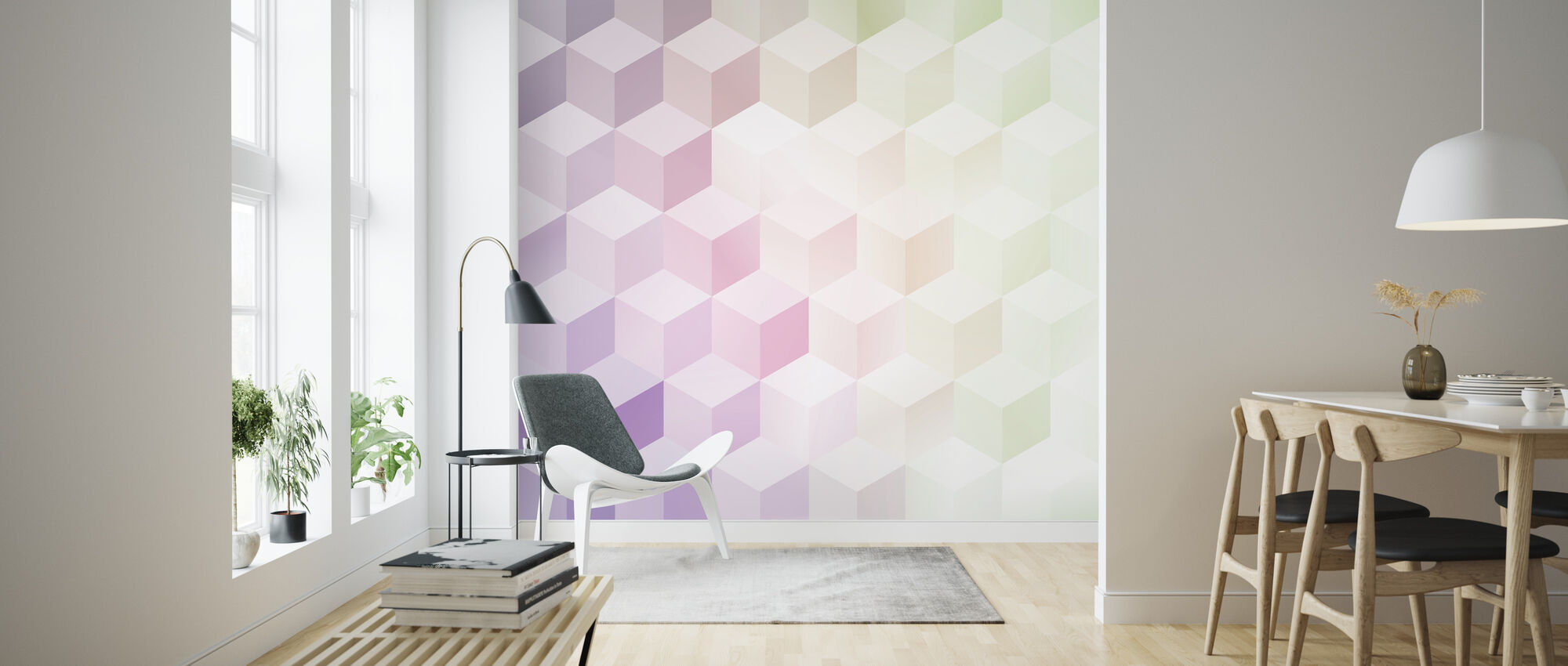 Cubes in Frosty Pastel - Wallpaper - Living Room