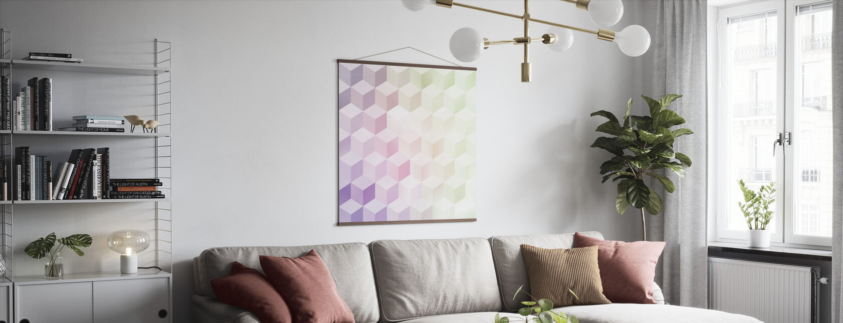 Cubes in Frosty Pastel - Poster - Living Room