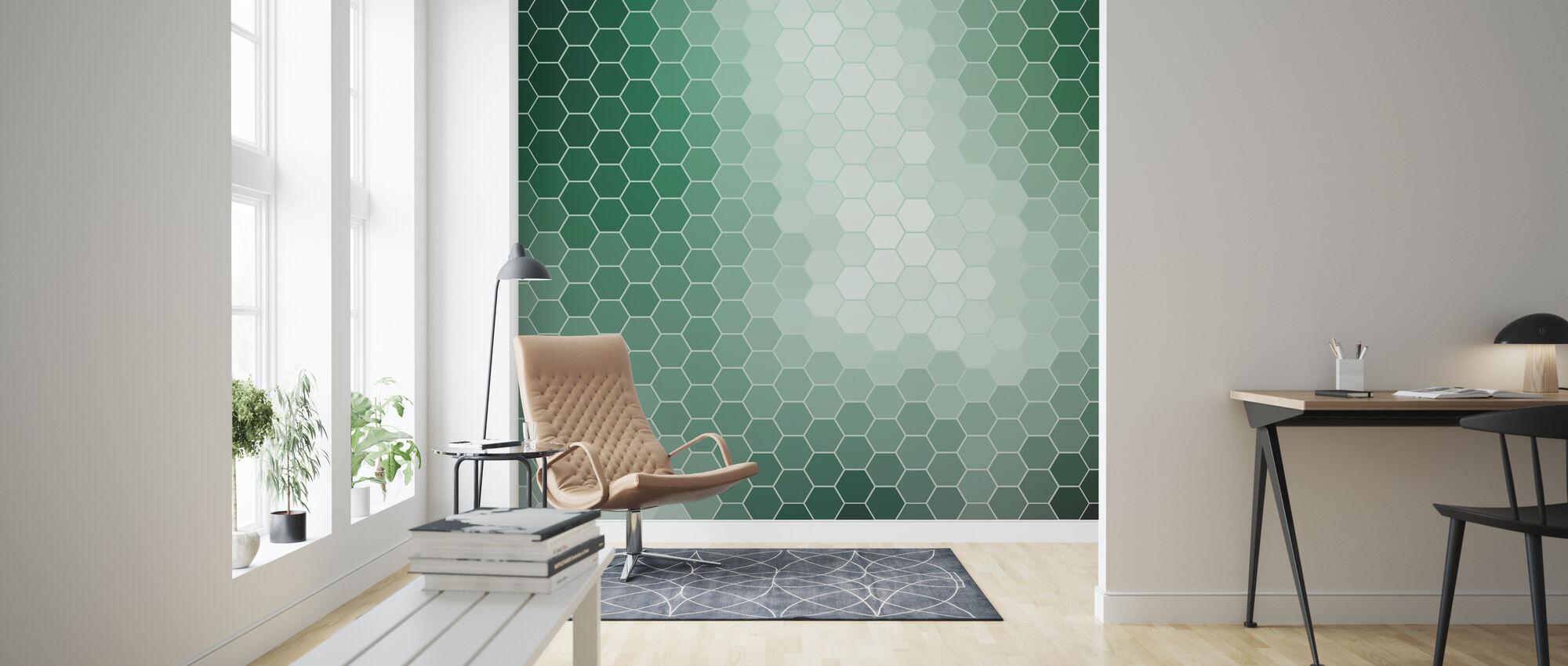 Emerald Green Hexagons - Wallpaper - Living Room