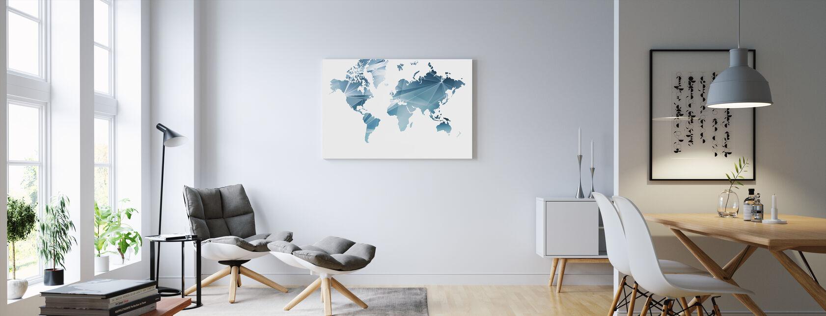 Carte du monde du concept géométrique - Impression sur toile - Salle à manger