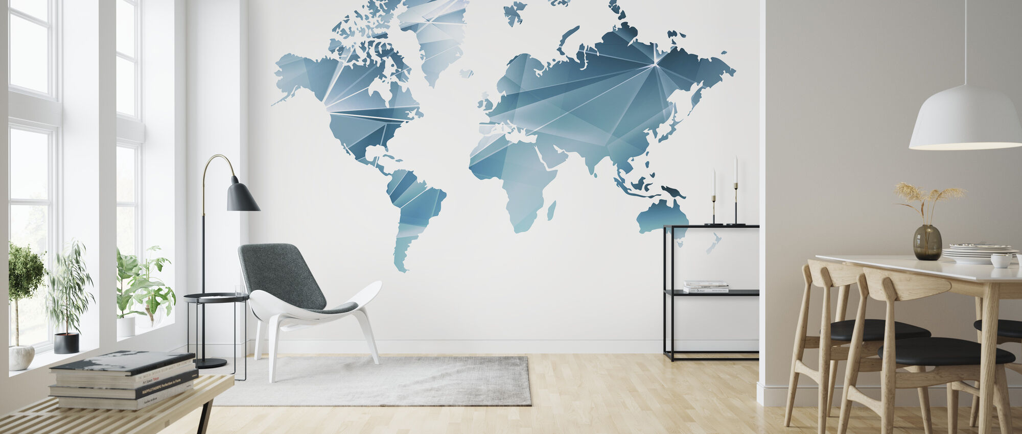 Geometric Concept World Map - Wallpaper - Living Room