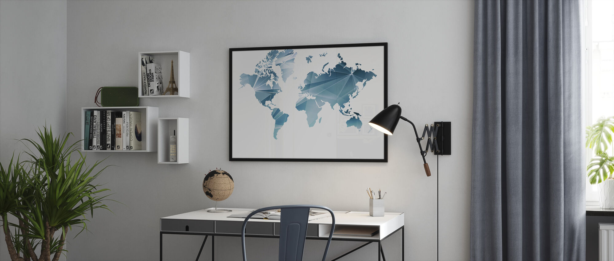 Geometric Concept World Map - Framed print - Office