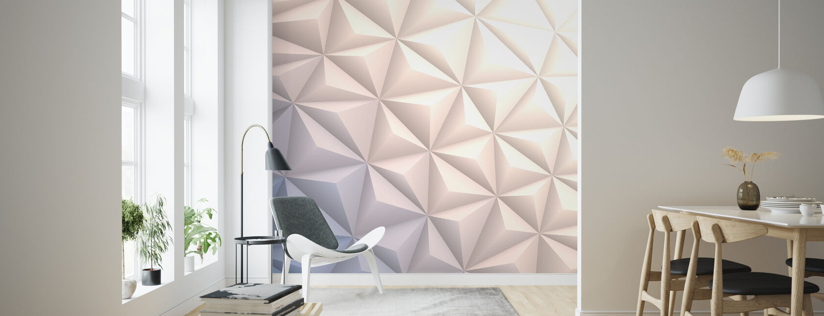 Geometric White - Wallpaper - Living Room